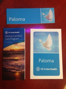 The Paloma Comfort Care materials: brochure, plate for the door so medical staff recognizes a patient instantly, and the card families carry so all medical staff know of their circumstance at all times.